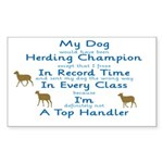 Herding Top Handler Rectangle Sticker