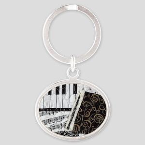 0505-sq-oboe Oval Keychain