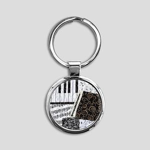 0505-sq-oboe Round Keychain