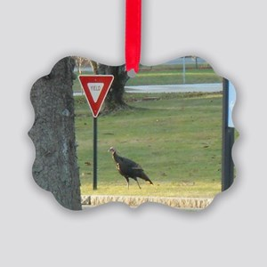 Wild Turkey Yields At Yield Sign Picture Ornament
