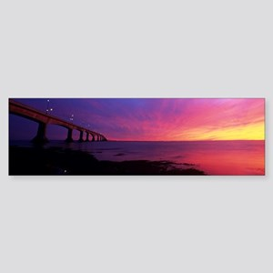 Confederation Bridge at sunset Sticker (Bumper)