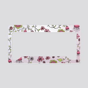 Whimsical pink flowers on pin License Plate Holder