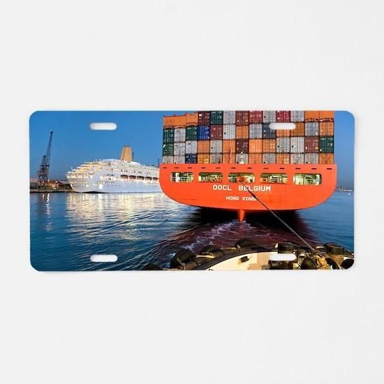 Container ship Aluminum License Plate