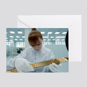Computer microchip factory worker Greeting Card