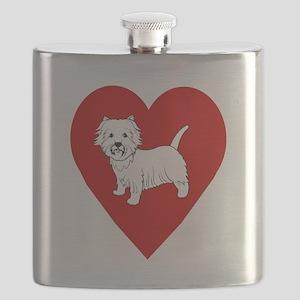 Westie Heart Flask