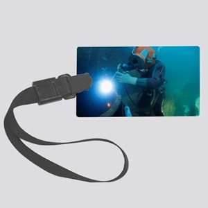 Commercial diver welding Large Luggage Tag