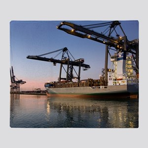 Container ship Throw Blanket
