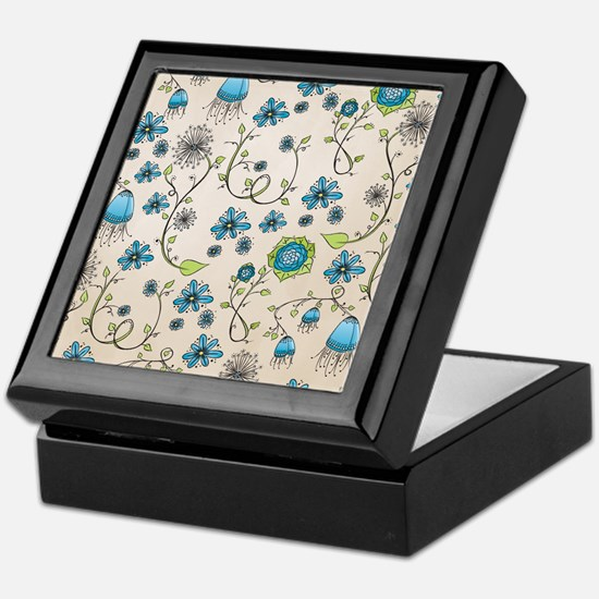 Whimsical blue flowers on beige Keepsake Box