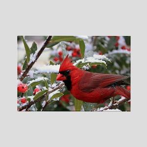 Christmas Cardinal Rectangle Magnet