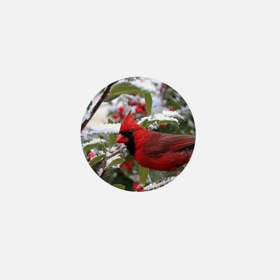 Christmas Cardinal Mini Button