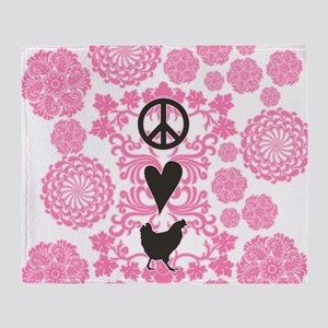 Peace, Love And Chickens Throw Blanket