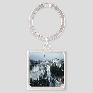 Mountain Gondola Ride Square Keychain