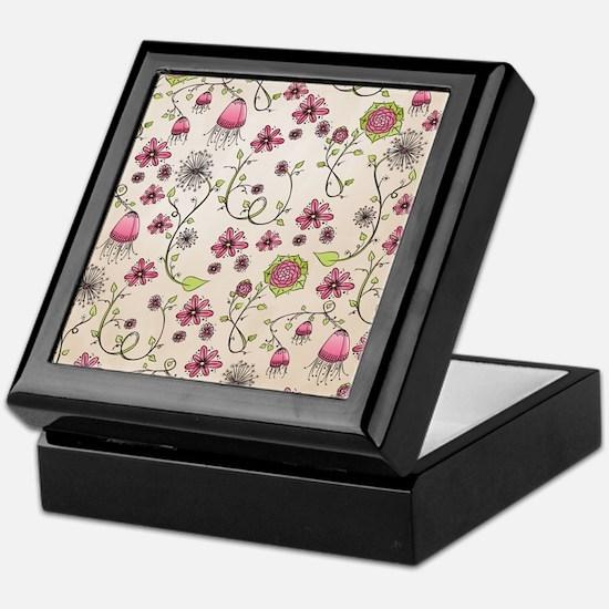 Whimsical pink flowers on beige Keepsake Box