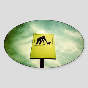 Dog fouling sign Sticker (Oval)