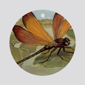 Dragonfly Painting Round Ornament