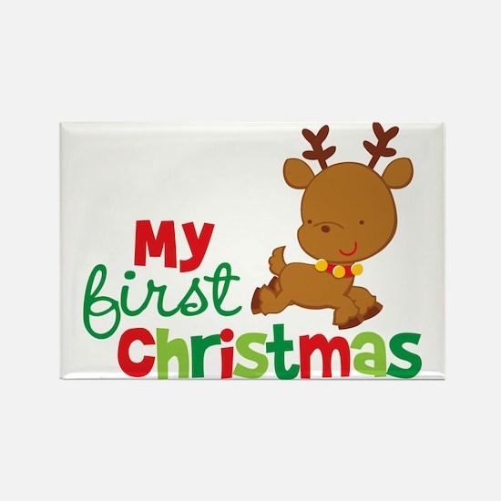 Reindeer Babies 1st Christmas Rectangle Magnet