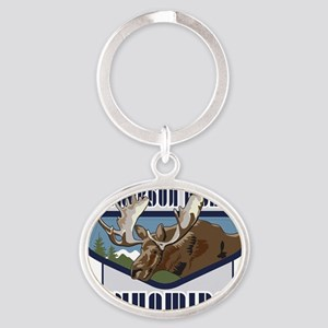 Jackson Hole Mountaintop Moose Oval Keychain
