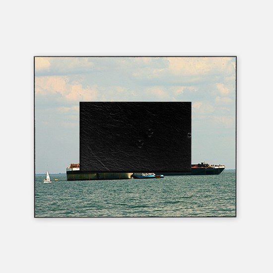Tugboat with barges and sailboat Picture Frame