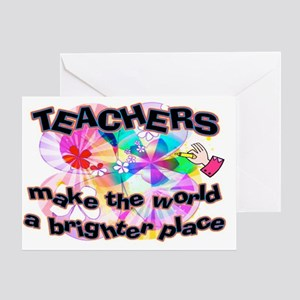 Teacher appreciation greeting cards cafepress teachers make world brighter sign greeting card m4hsunfo