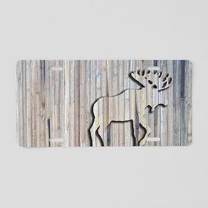 WoodenMooseRug Aluminum License Plate