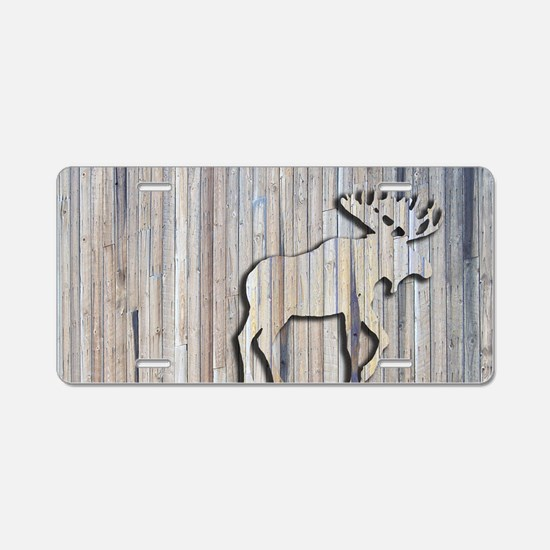 WoodenMooseRug Aluminum License Plate