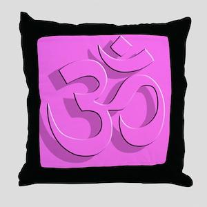 Om, Pink Throw Pillow