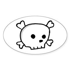 Wee Pirate Skull - Oval Decal