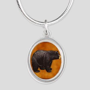 Bear Best Seller Silver Oval Necklace