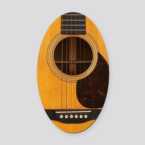 Acoustic Guitar Oval Car Magnet
