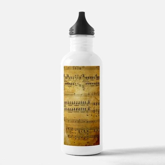 Sheet Music, Vintage, Water Bottle