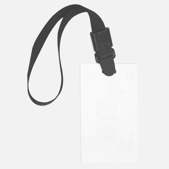 Reading girl on top of book pile Luggage Tag