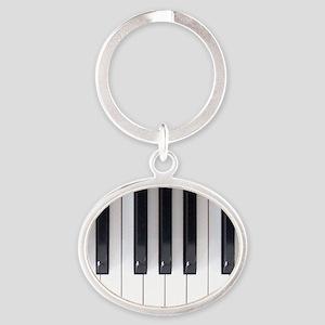 Piano Keyboard 5 Oval Keychain