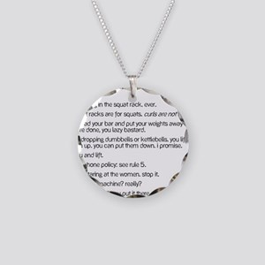 Gym Rules Necklace Circle Charm