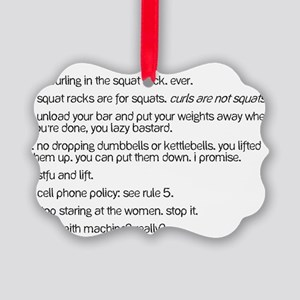Gym Rules Picture Ornament