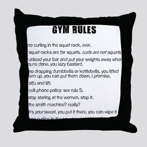 Gym Rules Throw Pillow