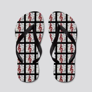 Red Treble Clef Queen Duvet Flip Flops