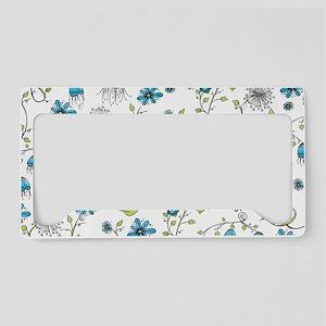 Whimsical blue flowers License Plate Holder