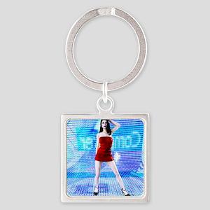 Woman, computer artwork Square Keychain