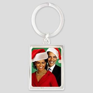 Obama Christmas Portrait Keychain