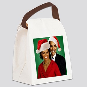 Obama Christmas Canvas Lunch Bag