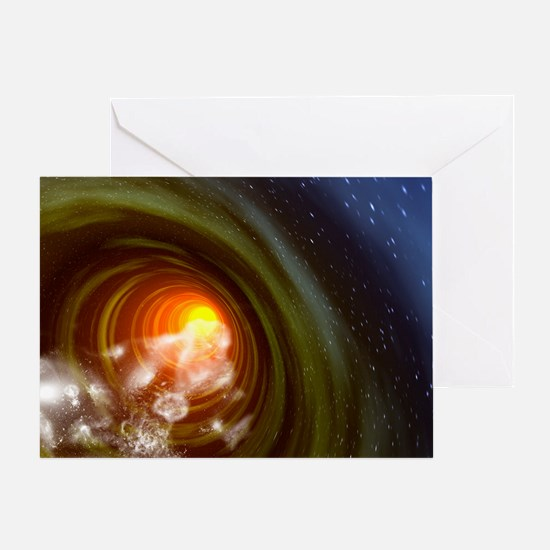 Wormhole event, computer artwork Greeting Card