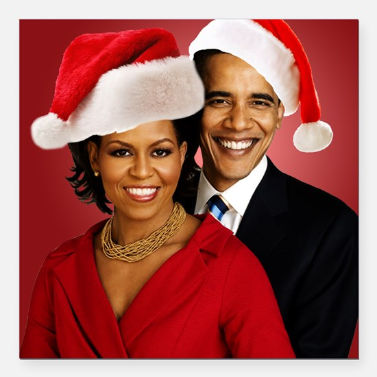 "Obama Christmas Square Car Magnet 3"" x 3"""