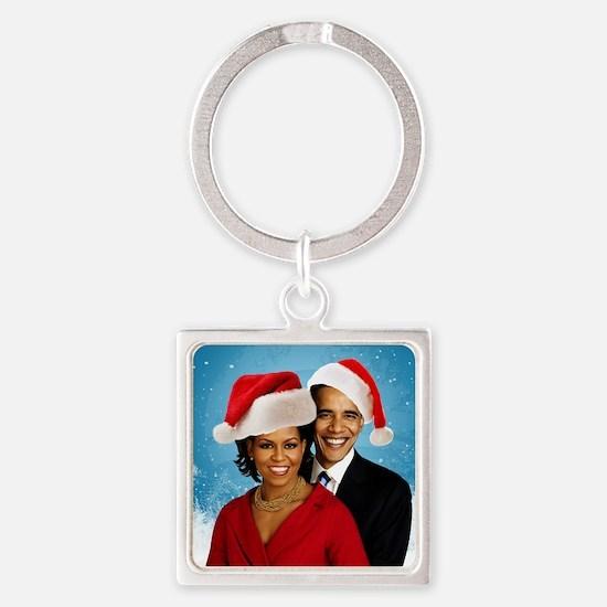 Obama Christmas Square Keychain