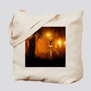 Alien emerging from a forest Tote Bag