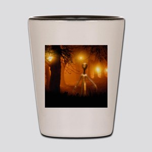 Alien emerging from a forest Shot Glass