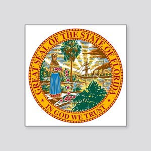 """Great Seal of Florida Square Sticker 3"""" x 3"""""""