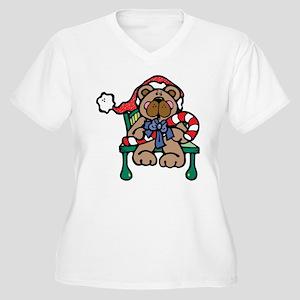 Christmas Bear Women's Plus Size V-Neck T-Shirt