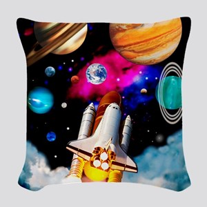 Art of space shuttle explorati Woven Throw Pillow