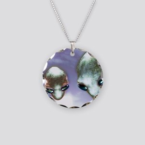 Alien heads Necklace Circle Charm