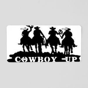 Cowboy Up Aluminum License Plate